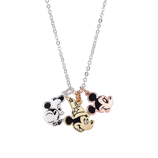 Disney Mickey Mouse Silver Over Brass Pendant Necklace