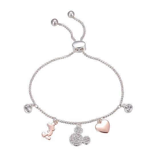 Disney Classics Crystal Heart Mickey Mouse Bolo Bracelet
