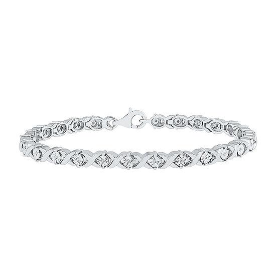 1/10 CT. T.W. Genuine Diamond Sterling Silver 7.5 Inch Tennis Bracelet