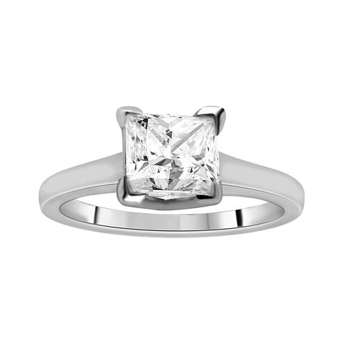 1½ CT. Princess Certified Diamond Solitaire 14K White Gold Ring