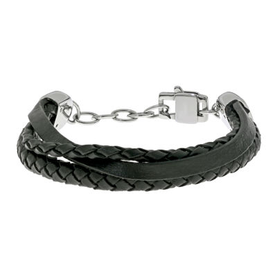 Mens Stainless Steel and Leather Bracelet