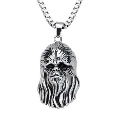 Star Wars® Chewbacca Mens 3D Stainless Steel Pendant Necklace