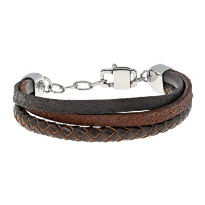 Mens Triple-Row Brown Leather Stainless Steel Bracelet