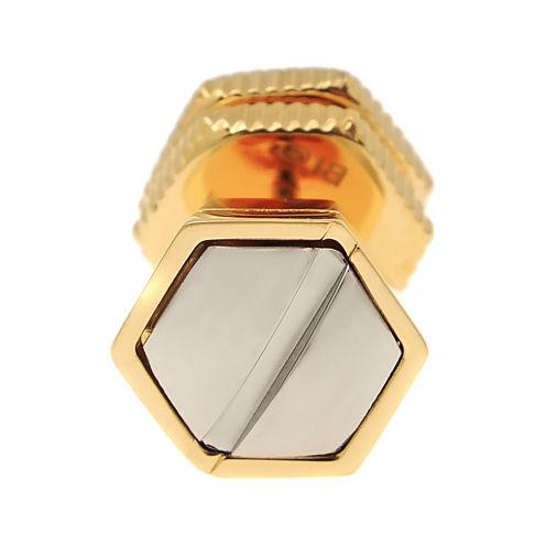 Mens Stainless Steel & Gold-Tone IP Stud Earring