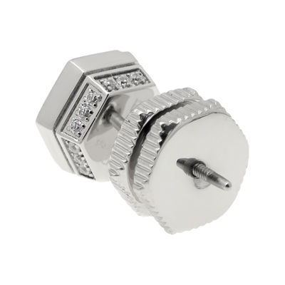 Mens Cubic Zirconia Stainless Steel Stud Earring