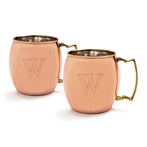 Set of 2 Personalized Copper-Plated Moscow Mule Mugs