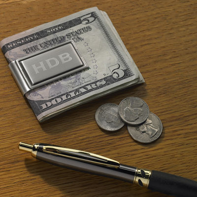 Personalized Silver-Tone Antique Money Clip