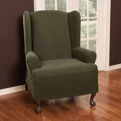 Maytex Smart Cover® Pixel Textured Mini Dot Stretch 1 Piece Wing Chair Furniture Cover Slipcover