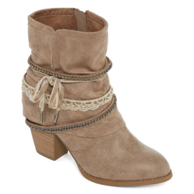 Pop Womens Wichita Dress Boots Stacked Heel Zip