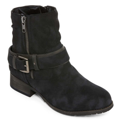 Pop Womens Ames Booties Flat Heel Zip