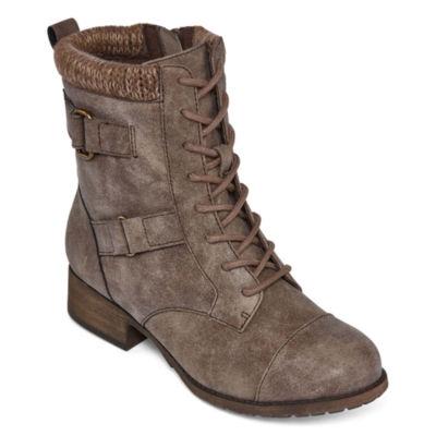 Pop Womens Cooper Combat Boots Flat Heel Zip