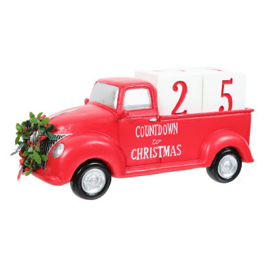 Countdown To Christmas Red Truck Tabletop Decor