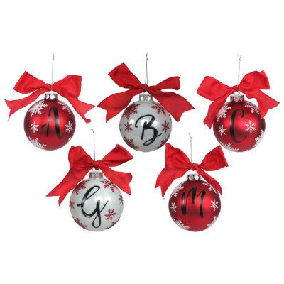 Glass Monogram Christmas Ornament