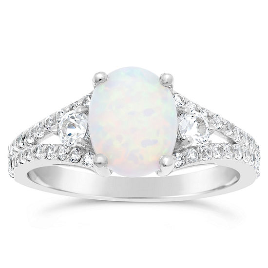 Womens Lab Created White Opal Sterling Silver Oval Cocktail Ring