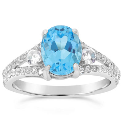 Womens Genuine Blue Topaz Sterling Silver Oval Cocktail Ring