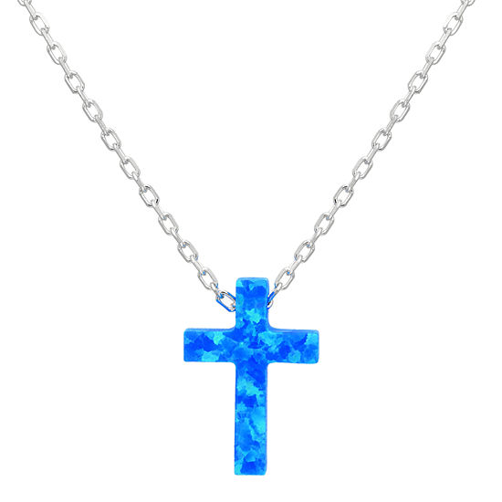 Womens Lab Created Blue Opal Sterling Silver Cross Pendant Necklace