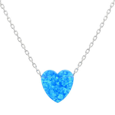 Womens Lab Created Blue Opal Sterling Silver Heart Pendant Necklace