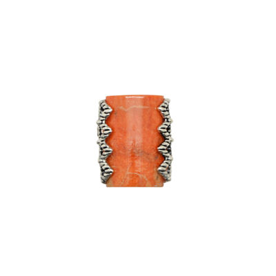 Silver Elements by Barse Womens Genuine Orange Sponge Coral Sterling Silver Cocktail Ring