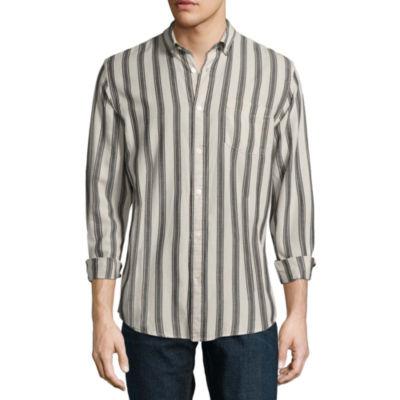 Arizona Long Sleeve Stripe Button-Front Shirt