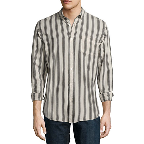 Arizona Long Sleeve Stripe Button-Front Shirt