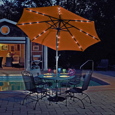 Mirage Fiesta 9 Ft Market Solar Led Auto Tilt Patio Umbrella Jcpenney