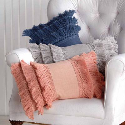 Peri Fringe Oblong Throw Pillow