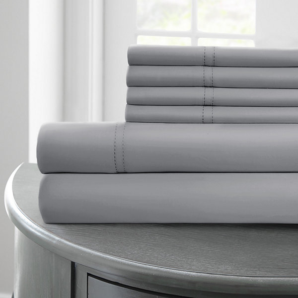 1000 Thread Count Cotton Blend Double Hole Hem 6 pc Sheet Set with Double Hem Stitch