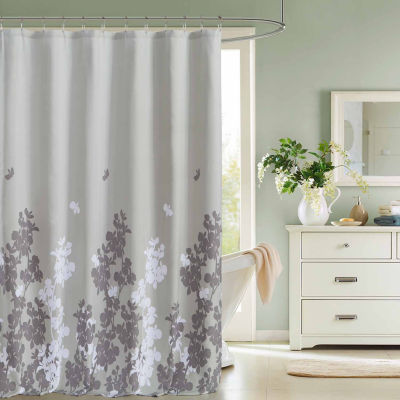 Kensie Ellamay Satin Look Micfiber Shower Curtain