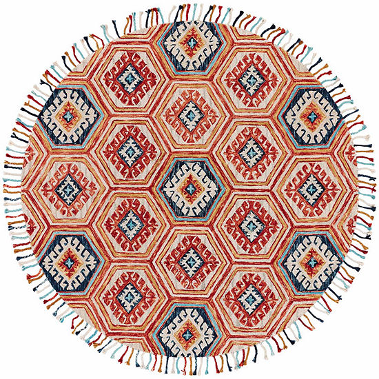 Weave And Wander Calendra Geotric Hand Tufted Round Indoor Rugs