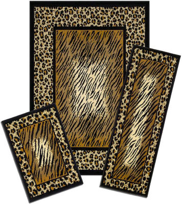 Achim Leopard Skin Rectangular 3-pc. Rug Set