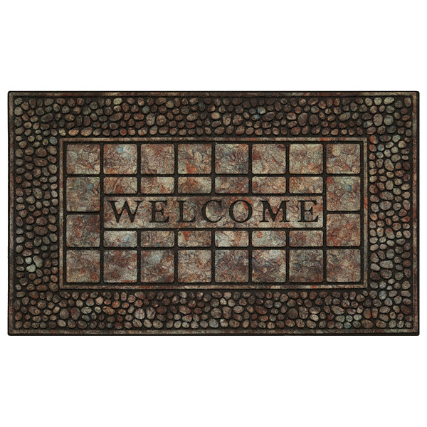 Achim Pebble Squares Rectangular Doormat