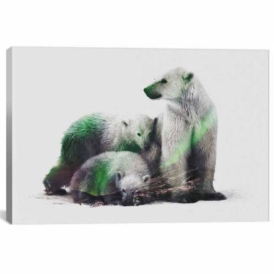Icanvas Arctic Polar Bear Family Canvas Art
