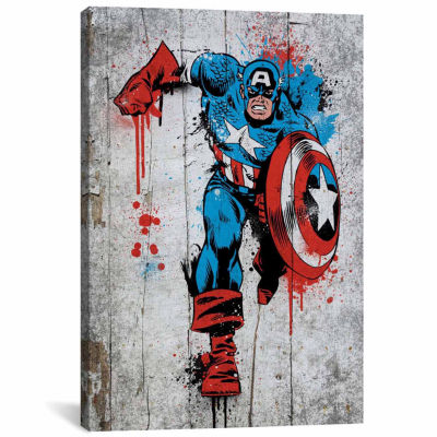 Icanvas Captain America Spray Paint Canvas Art