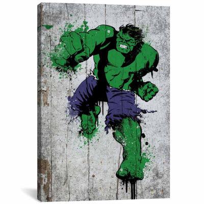 Icanvas Marvel Comic Book: Hulk Spray Paint Canvas Art