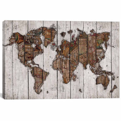 Icanvas Wood Map Canvas Art
