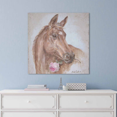 Icanvas French Farmhouse Series: Horse With Rose Canvas Art