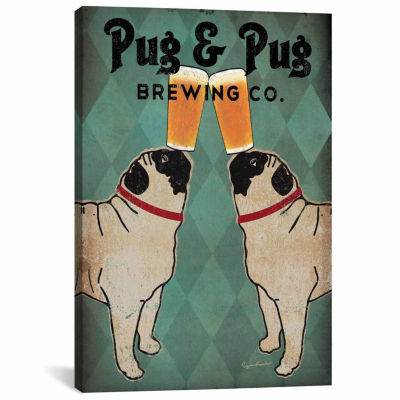 Icanvas Pug & Pug Brewing Co. Canvas Art