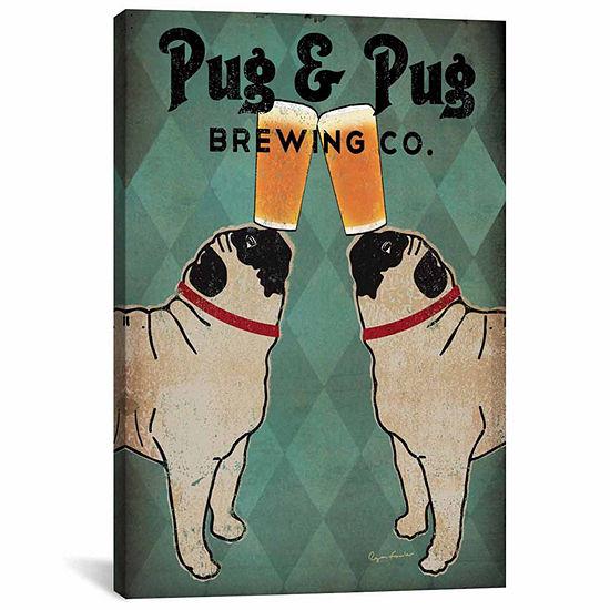 Icanvas Pug & Pug Brewing Co. Canvas Art