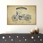 Icanvas Harley-Davidson Vintage Patent Blueprint Canvas Art