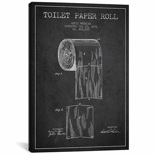 Icanvas Toilet Paper Charcoal Patent Blueprint Canvas Art