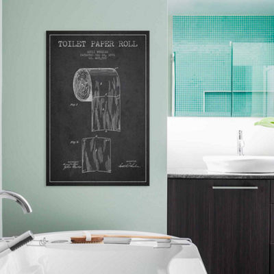 Icanvas Toilet Paper Charcoal Patent Blueprint Canvas Art