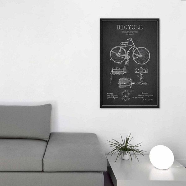 Icanvas Bike Charcoal Patent Blueprint Canvas Art