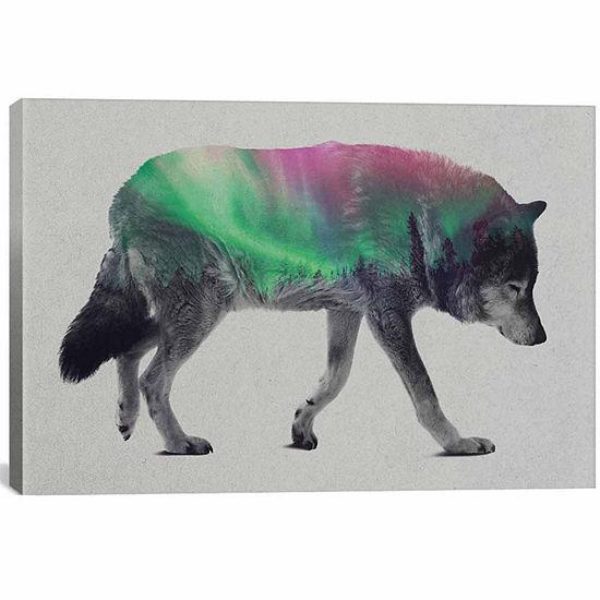 Icanvas Aurora Borealis Series: Wolf Canvas Art