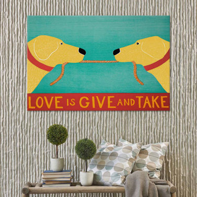 Icanvas Love Is Yellow Yellow Canvas Art