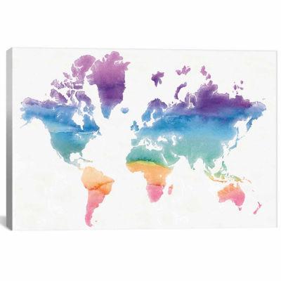 Icanvas Watercolor World Canvas Art