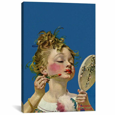 Icanvas Little Girl With Lipstick Canvas Art