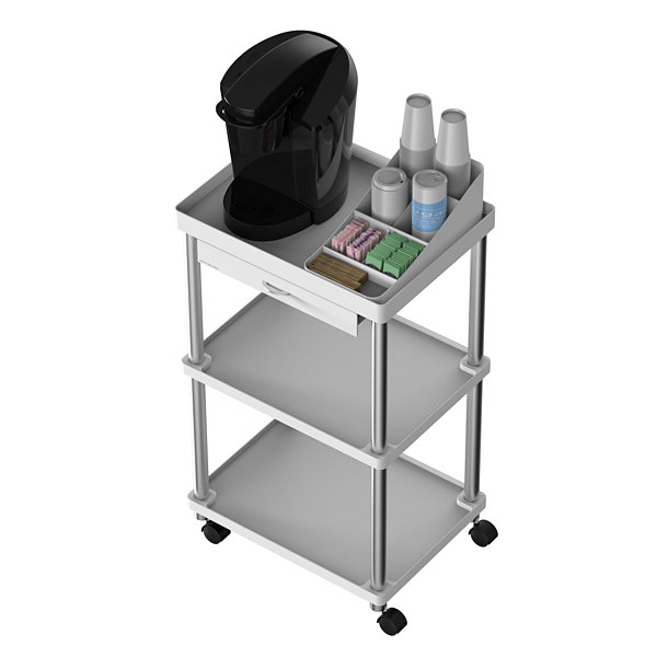 Mind Reader 'Valet' 3 Tier Rolling Coffee Cart - Organizer Included, Black