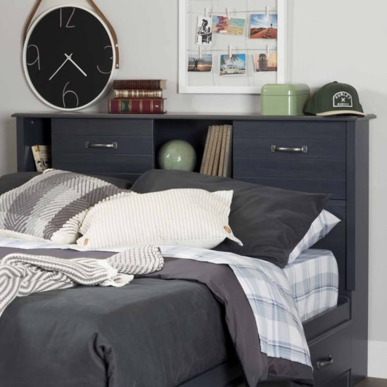 Ulysses Bookcase Headboard with Sliding Doors
