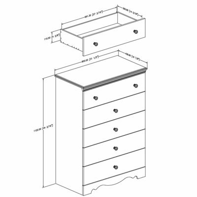 Crystal 5-Drawer Chest