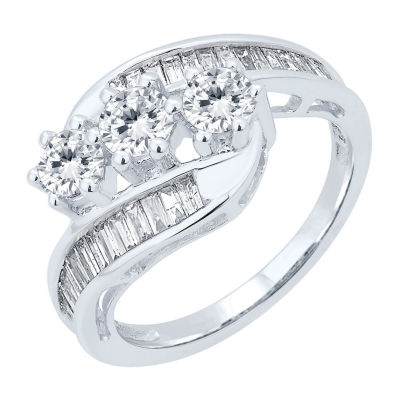 Love Lives Forever Womens 1 1/2 CT. T.W. Genuine White Diamond 10K Gold 3-Stone Engagement Ring